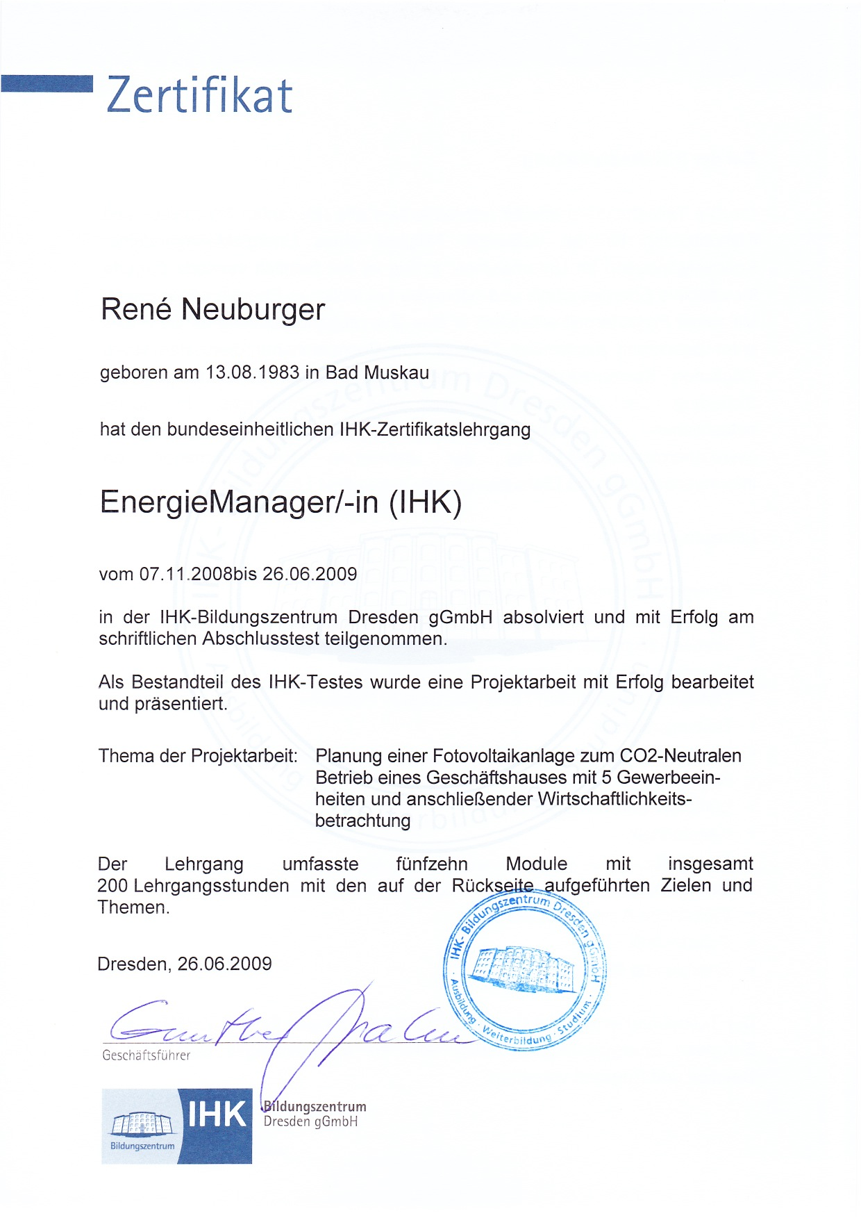 Energie Manager IHK