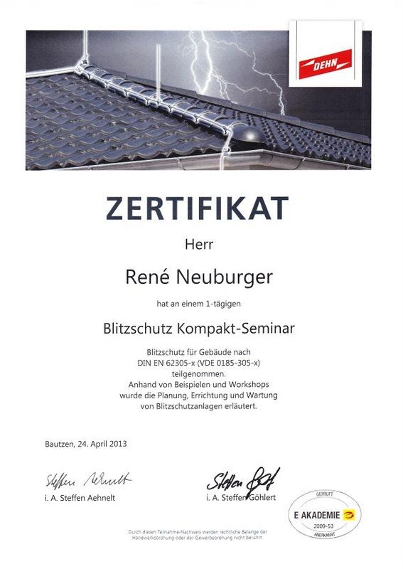 Zertifikat Blitzschutz 2013-001